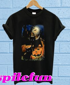 Black Cat Pumpkin Halloween T-shirt