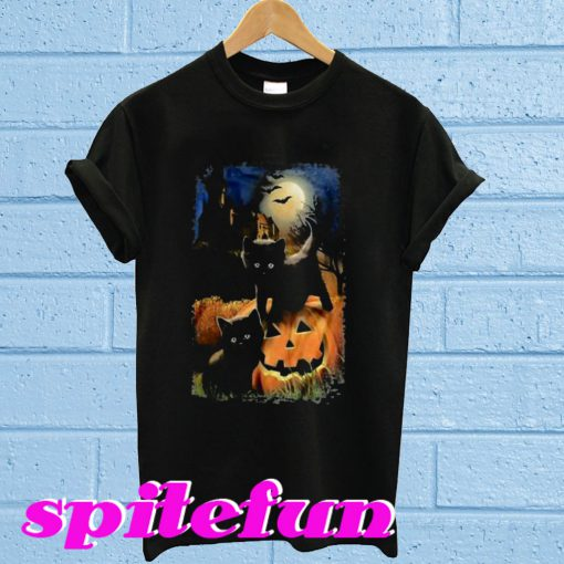 Black Cat Pumpkin Halloween T-shirt