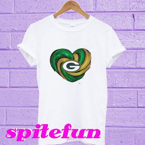 Hurricane Green Bay Packers heart T-shirt