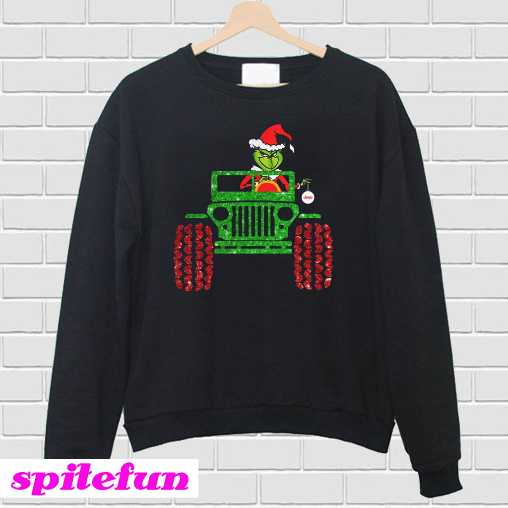 Grinch Christmas Sweater.Glitter Grinch Drive Jeep Christmas Sweatshirt