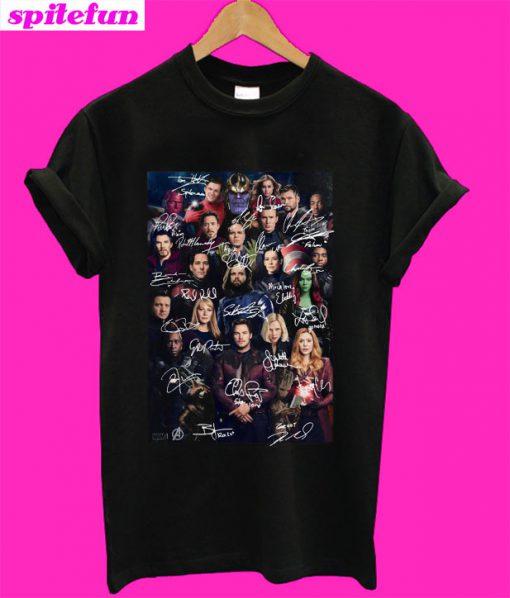 Marvel Avengers Endgame poster signature T-Shirt