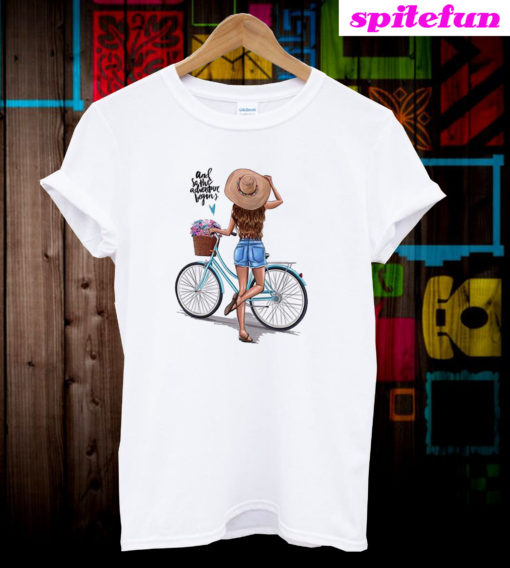 And So The Adventure Begins Girl Mom Bicycle T-Shirt